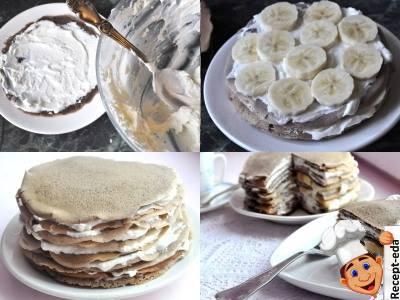 блинный торт с творогом и бананом, блинчатый пирог сладкий