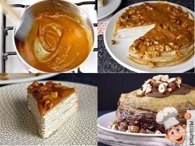 сладкий торт из блинов