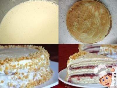 как приготовить блинный торт с творожной начинкой