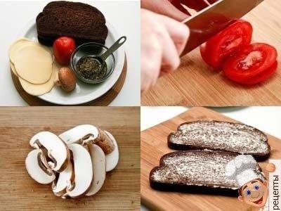 бутерброды сжаренымчерным хлебом