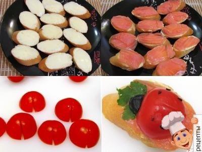 как приготовить праздничные бутерброды с красной рыбой и помидорами
