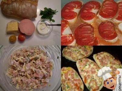 горячиебутерброды с сыроми помидорами и колбасой