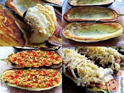 баклажаны фаршированные овощами, баклажаны лодочкис овощами