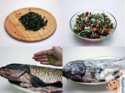 фаршированный карп в духовке, рецепты с помидорами и зеленью