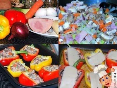 перец, фаршированный грибами, сыром, ветчиной