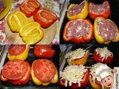 фаршированный перец с мясом и помидорами без риса, рецепт