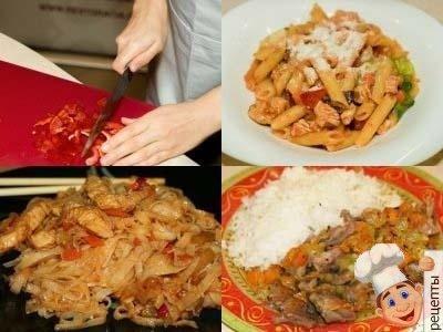 филе индейки с рисом, макаронами, рисовой лапшой