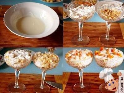 фруктовый десерт с мороженым, рецепт с печеньем