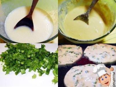 оладьи с зеленым луком на кефире, рецепт