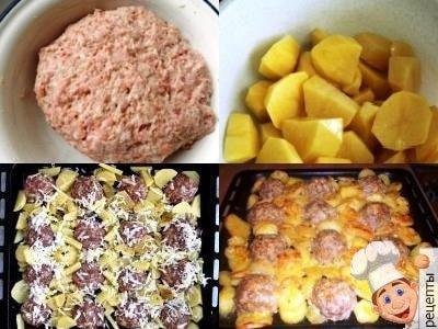 картофель с фрикадельками, запеченный в духовке