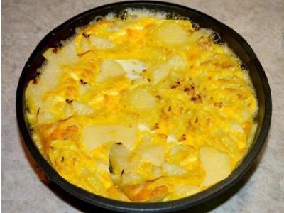 картофельная запеканка с яйцоми молоком в духовке