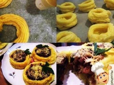 картофельные корзиночки с грибами, как приготовить