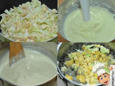 крем суп цветной капусты с чесноком на бульоне