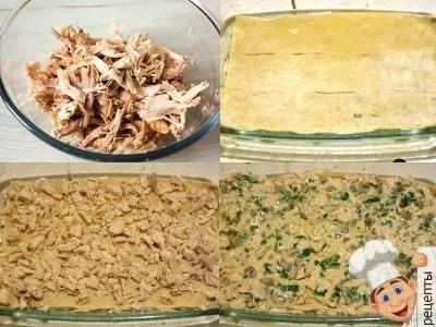 лазанья с куриным филеи грибами