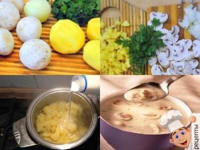 молочный суп с грибами шампиньонами и картофелем, рецепт приготовления