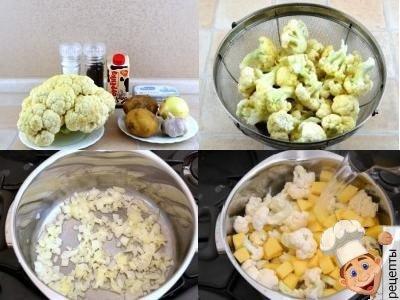 овощной суп пюре из цветной капусты, картофеля со сливками