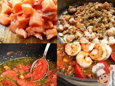 паста с лососем и креветками в томатном соусе