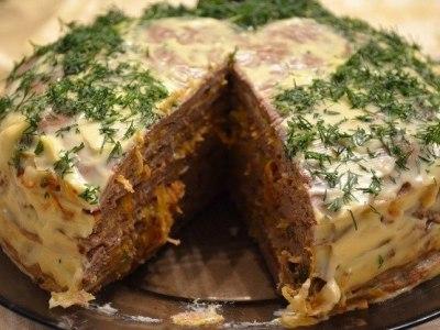 печеночный торт из куриной печенис молоком