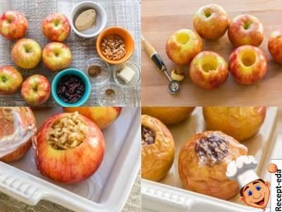 запеченные яблоки с начинкой из грецких орехов и изюма