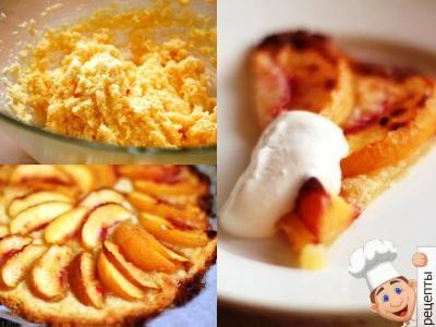 Песочный пирог со свежими персиками