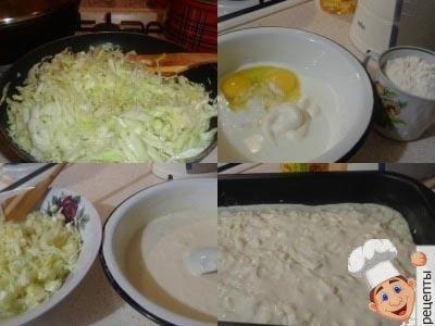 заливной пирог с молодой капустой на кефире в духовке