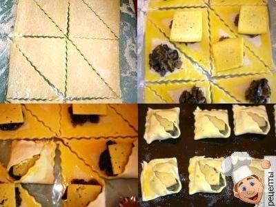 пирожки с грибами из слоеного теста. рецепт
