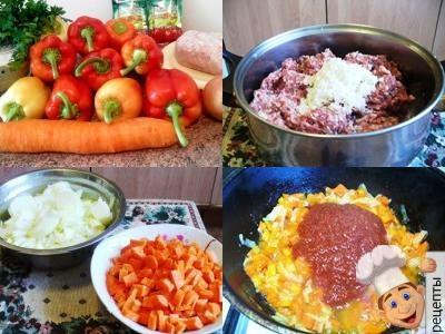 приготовление фаршированного перца с мясом и рисом в кастрюле