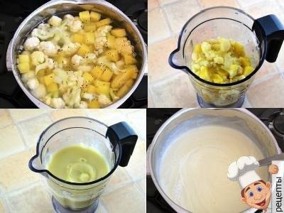 приготовление супа пюре из цветной капусты, рецепт со сливками