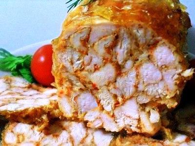 рецепт домашнего куриного рулета с желатином в пакете