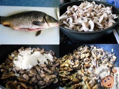 рецепт карпа запеченного в духовке с грибами