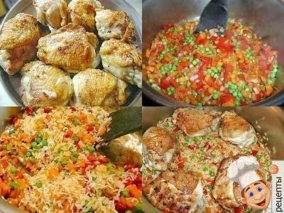 рецепт риса с овощами и курицей