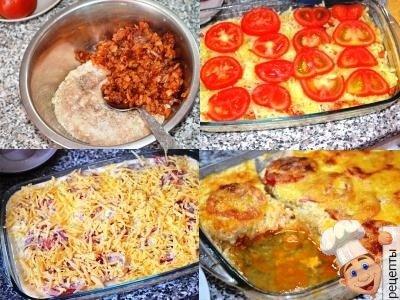 кабачки с фаршем помидорами и сыром в духовке слоями
