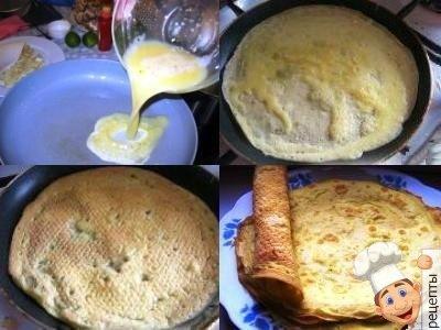 рецепты блинных пирогов с курицей
