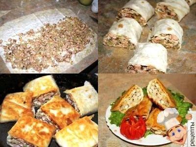 рецепты рулетиков из лаваша с жареной красной рыбой и луком
