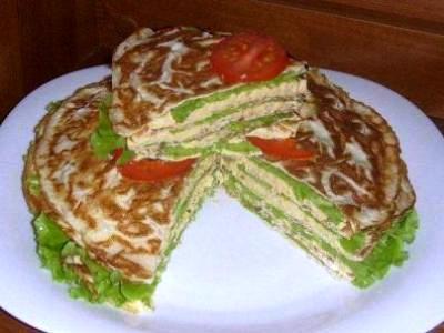 рецепты закусочных блинных тортов, блинный пирог с курицей рецепт