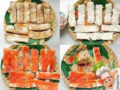 роллы из хлебцев с семгой