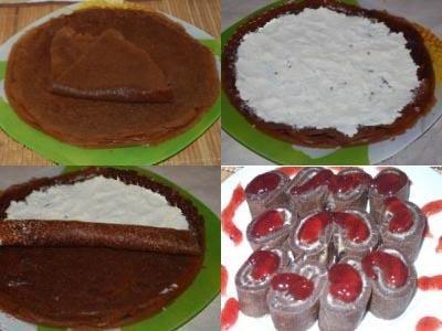 рецепт рулетиков из блинов, блинчиков с начинкой