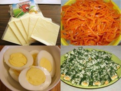 сырные рулетики с начинкой из корейской моркови и яйца