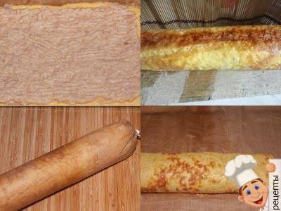 рулет сырный смяснымфаршем, рулетиз фарша с сыром в духовке
