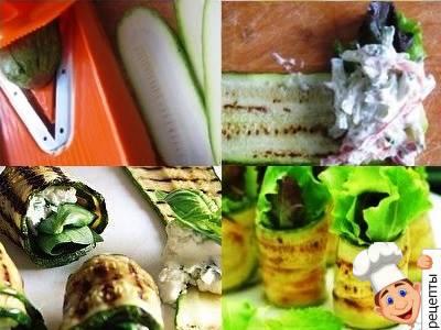 рулетики из цукини с овощами