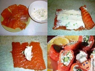 рулетики из красной рыбы и сыра