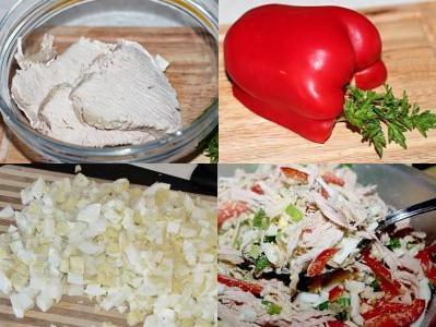 салат из филе индейки с овощами