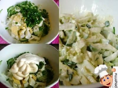салат из китайской капусты с огурцом и яйцом