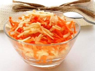 салат из свежей моркови и яблок, салат яблоко морковь