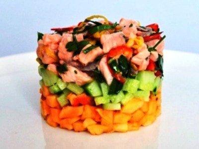салат из сырой маринованной рыбы