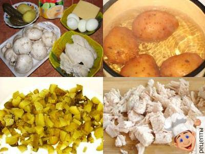 Лужок, салаткурица грибы огурцы яйца