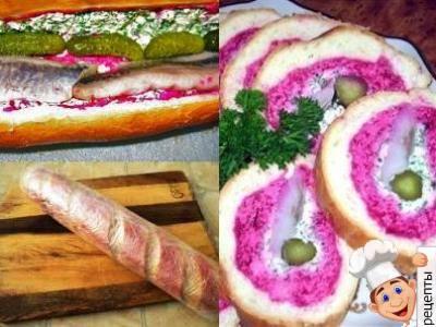 сельдь под шубой рецепт в батоне, буханке хлеба