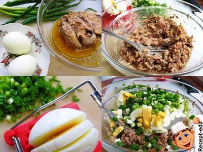салат с консервой и яйцом, салат консервы яйца лук