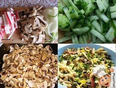 салат с крабовыми палочками и жареными грибами