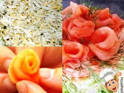 салат слоеный с креветками рецепт с красной рыбой
